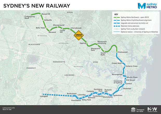 Sydney Metro - project map