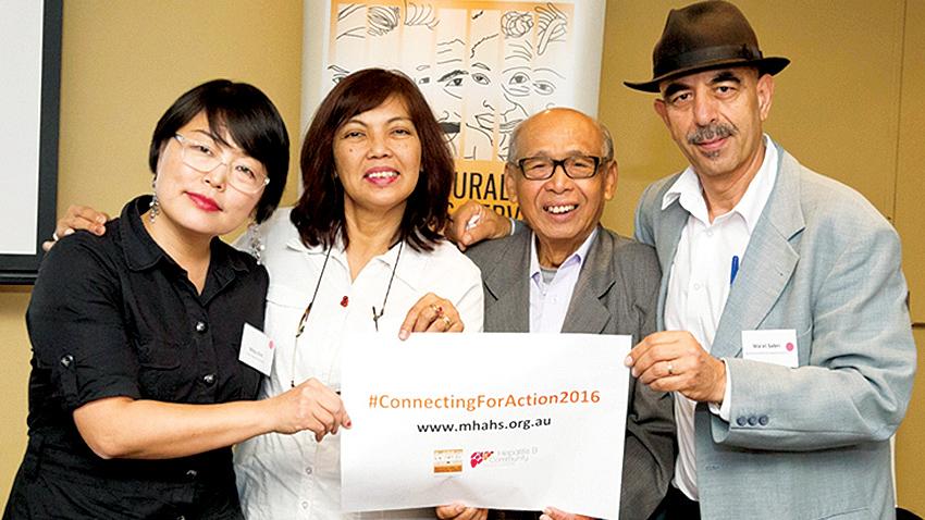 Gustinia Dauner (kedua dari kiri) dan Jon Soemarjono (ketiga dari kiri) pada forum delegasi #ConnectingForAction2016
